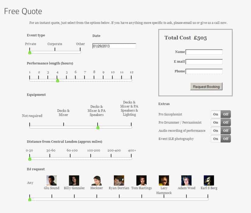 Storm DJs Cost Calculator