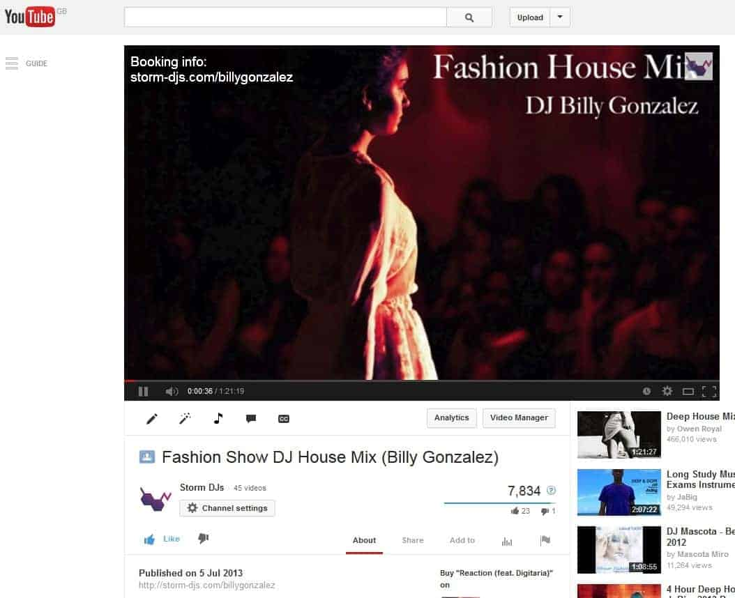 DJ Billy Gonzalez - YouTube mix - Storm DJs